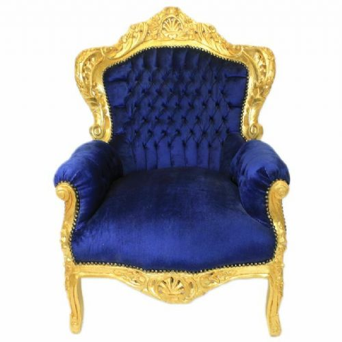 ARMCHAIR - BAROQUE STYLE ARMCHAIR GOLD & BLUE # F30MB140